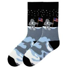 K Bell Mens Man on the Moon Patriotic Socks 10-13 Astronaut Made in the USA