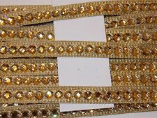 Gold 16mm Jewel Sequin Indian wedding  cake dance costume ribbon mesh rhinestone