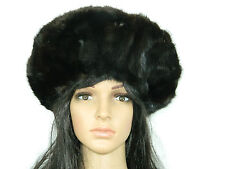 BLACK MINK FUR  HAT BONNET HUGE BERET Sz. max 23'' Нoрка-Nerz-Visone-貂皮 264