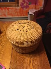 Vintage Antique Wicker Ratten Hat Wig Box.