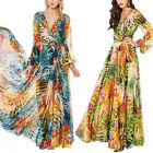 Womens V-Neck Tropical Boho Floral Dress Chiffon Maxi Summer Beach Long Dresses