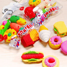 6 pcs Cute Food Rubber Pencil Eraser Set Stationery Novelty Children Party Gift@
