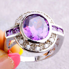 Noble Jewelry Oval & Round Cut Amethyst White Topaz Gemstone Silver Ring Size 7