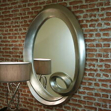 Large Contemporary Champagne Silver leaf Oval Mirror Portrait Wall Hanging