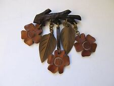VINTAGE 1940s BAKELITE ERA WOOD dangling FLOWERS BRANCH PIN BROOCH