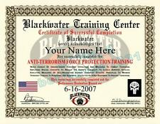 Certificate / Diploma Prop BLACKWATER Anti-Terrorism CUSTOM With Your Name/Date