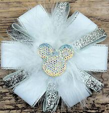 Girls Handmade stunning Hair Bow with Alligator Clip Grosgrain Ribbon white