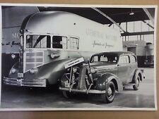 "12 By 18"" Black & White PICTURE 1936 PONTIAC Sedan with GM General Motors Bus"