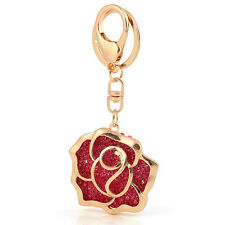 Handbag Buckle Charms Accessories Big Gold & Red Rose  Keyrings Key Chains HK79