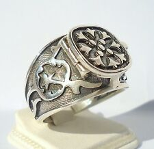925 STERLING SILVER MEN'S RING WITH HIDDEN POISON BOX LIMITED ITEM FREE RESIZING