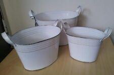 Vintage Style Enamel Tin Buckets Set of 3 Tins White Home Bathroom Storage Gift