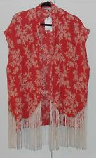MNG RED FLOWER PRINT LONG CAFTAN VEST WITH BEIGE FRINGED BOTTOM - ONE SIZE
