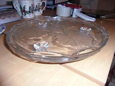 Pressed glass cake stand plate vintage