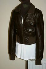 JANE NORMAN Brown PU JACKET Faux Leather Biker uk12 eu38 us8 Chest c38ins c97cms
