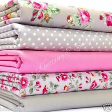 5 fat quarter fabric  bundle silver grey & pink floral mix 100 % cotton poplin
