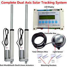 "Solar Tracker Tracking Dual Axis Sun Track Kit -2*8"" Linear Actuator &Controller"