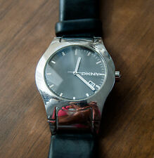 DKNY Mens Stainless Steel Black Leather Strap Quartz Watch NY3105
