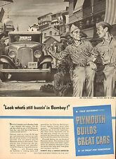 WWII Dec.4 1944 ad 1128 for Plymouth Builds Great Cars, Bombay,  GIs- ad only #1