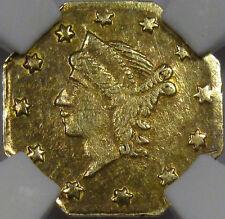 1856 Octagon Liberty Gold Quarter Dollar Choice Bu Ngc Ms-61. Bg-111 Flashy!