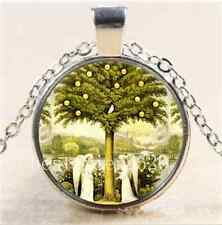 Angel Tree of Life Glass Cabochon Tibet Silver Chain Pendant  Necklace