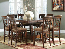 REGAL - 9pcs SQUARE COUNTER HEIGHT DINING ROOM TABLE & CHAIRS SET WOOD FURNITURE