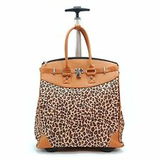 Rolling Tote Carry On Travel Bag Leopard Print Luggage with Wheels TSA approved