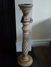 Brand New XXL 60CM  Wooden Candlestick Candle Holder White Washed Effect
