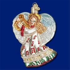 TAKE NOTE ANGEL W/ HARP MUSICAL OLD WORLD CHRISTMAS GLASS ORNAMENT NWT10214