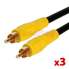 3x 6 FT Premium RCA Digital Coax Coaxial RG59/U Audio Video Cable Subwoofer Cord
