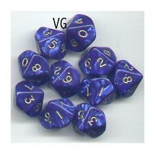 NEW RPG Dice Set of 10D10 - Pearl Blue