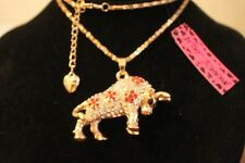 "Betsey Johnson 28"" GP Chain,GP 2"" Clear & Red Crystal Bull Necklace, Western"