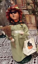 Byers Choice Halloween Witch GIRL Green Dress Trick or Treat Bag Broom Retired