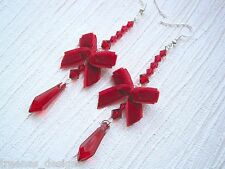 *DEEP RED WINE VELVET BOW LONG TEARDROP GEM BEADED* SP Drop Earrings Ribbon