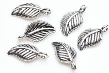50 Tibet Silver Leaves Loose Charm Pendant Jewelry Making For Bracelet 15x7mm