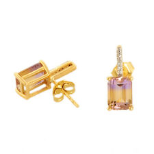 AMETRINE 2.99 CT NATURAL GEMSTONE & DIAMOND EARRINGS IN 10 KT YELLOW GOLD  DJ395