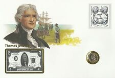 Usa United States of America Thomas Jefferson 5 Cents & Telephone Card 1993 Fdc