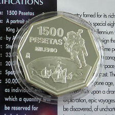 SPAIN 1999 MILLENNIUM 1500 PESETAS SILVER PROOF - coa/info sheet