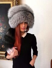 Natural silver fox full fur hat with tail.S,M,L,XL.Royal saga furs quality