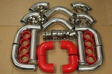 Red JDM 12PCS 2.5' Universal Turbo Intercooler Piping Silicone Hose T-Clamp Kit