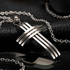 AgentX Small Unisex's Men Silver Stainless Steel Cross Chain Pendant Necklace