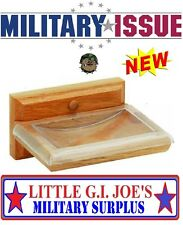 "NEW Wall Mount SOLID OAK SOAP DISH With Clear Plastic Overlay 5"" x 3.5"" Military"