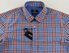 Men's HUGO BOSS Blue Red Plaid RONNY Shirt Small S NWT NEW $145+ Slim Fit