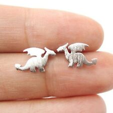 FREE GIFT BAG Silver Plated Welsh Magical Xmas Dragon Stud Earrings Jewellery