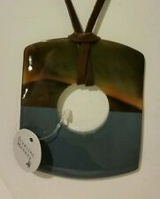 100% Buffalo horn teal blue lacquered square pendant necklace on leather string