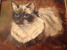 Siamese Cat Original Oil On Canvas Painting Signed