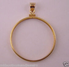 Coin Bezel One Ounce SILVER ROUND 39mm 14K Gold Filled Coin Edge w/Soldered Bail