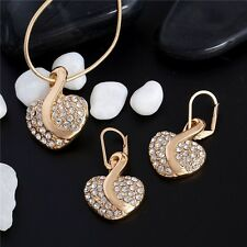 Bridal gold plated Crystal Heart Necklace+Earrings jewelry set Christmas gift.