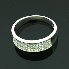 Sterling Silver Cubic Zirconia Micro Pave Set Ring Size R