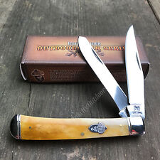 ROUGH RIDER 440 Stainless Smooth Tobacco Bone Trapper Folding Pocket Knife RR777