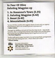 (CU322) In Fear of Olive, Saluting Magpies EP - 2012 DJ CD